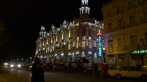 Establishing-shot-of-a-hotel-nightclub-in-the-old-city-of-Havana-Cuba-at-night