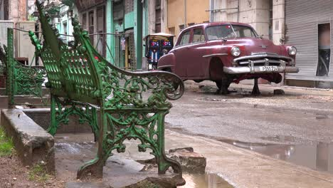 An-old-car-stands-on-blocks-in-the-old-city-Havana-Cuba