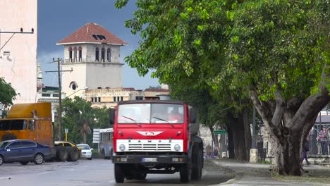 Classic-old-cars-travel-on-the-streets-of-Havana-Cuba