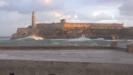 The-Morro-castle-and-fort-in-Havana-Cuba-with-large-waves-foreground-1