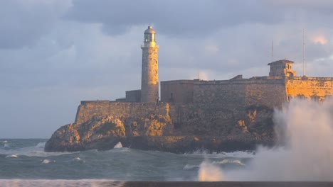 The-Morro-castle-and-fort-in-Havana-Cuba-with-large-waves-foreground-2