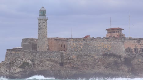 The-Morro-castle-and-fort-in-Havana-Cuba-with-large-waves-breaking-foreground