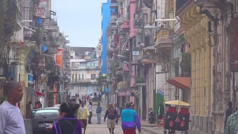 Great-shot-of-crowded-streets-and-alleys-of-the-old-city-of-Havana-Cuba