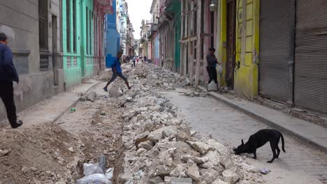 An-old-street-undergoes-construction-and-work-in-the-old-city-of-Havana-Cuba