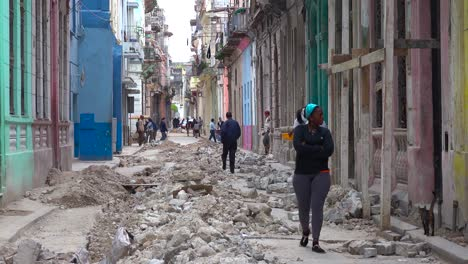 An-old-street-undergoes-construction-and-work-in-the-old-city-of-Havana-Cuba-1