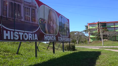Communist-propaganda-billboards-line-a-road-in-Cuba-including-Fidel-Castro