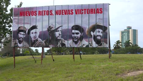 Communist-propaganda-billboards-line-a-road-in-Cuba-includes-Fidel-Castro-and-other-revolutionary-heroes