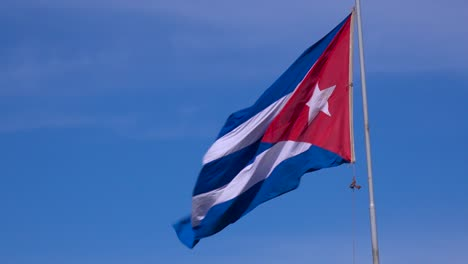 The-flag-of-Cuba-flies-in-the-sky