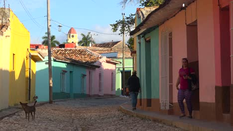 A-beautiful-shot-of-the-buildings-and-cobblestone-streets-of-Trinidad-Cuba-2