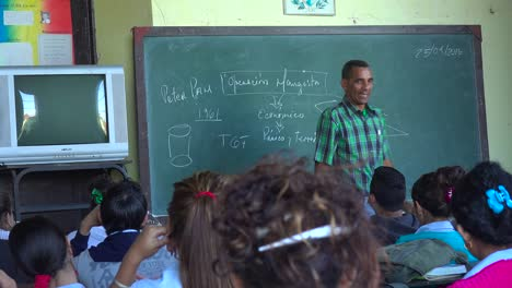 A-teacher-instructs-a-classroom-of-students-in-Cuba