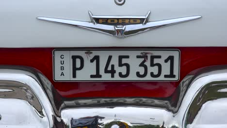 The-rear-of-a-classic-old-car-in-Havana-Cuba-including-license-plate