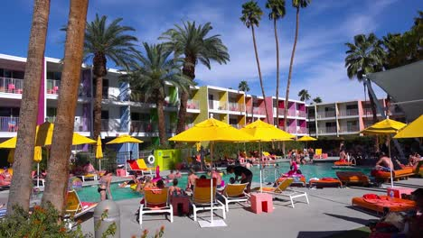 A-busy-and-colorful-resort-hotel-in-Palm-Springs-California