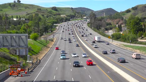 High-angle-view-over-a-busy-California-highway-in-Ventura-County
