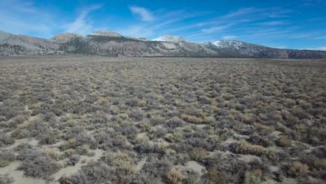 Beautiful-aerial-shot-over-desert-sagebrush-reveals-the-Mono-volcano-cones-in-the-Eastern-Sierra-Nevada-mountains