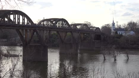 The-town-of-Wetumpka-Alabama-with-pretty-bridge-spanning-the-Coosa-River