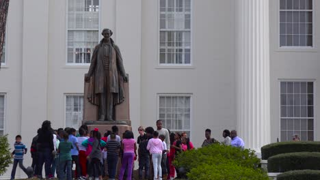 African-american-children-gather-outside-the-Montgomery-Alabama-capital-building-to-remember-America-s-founding-fathers