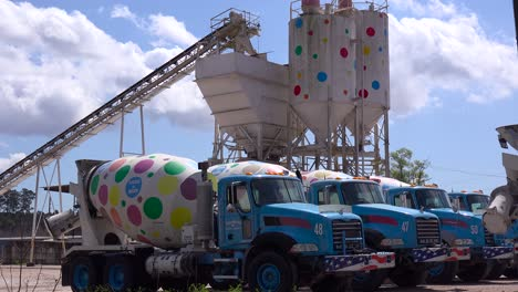 Trucks-and-cement-towers-are-decorated-with-polkadots-at-this-artistic-business