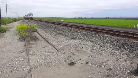 An-Amtrak-train-travels-at-high-speed-through-California-farm-fields