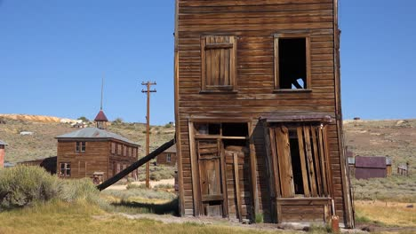 An-old-building-is-propped-up-by-a-post-in-the-ghost-town-of-Bodie-California