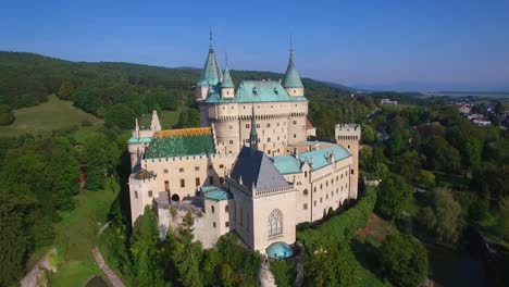 A-beautiful-aerial-establishing-view-of-the-romantic-Bojnice-Castle-in-Slovakia