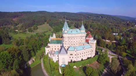 A-beautiful-aerial-establishing-view-of-the-romantic-Bojnice-Castle-in-Slovakia-2