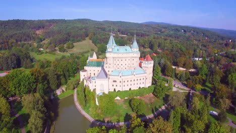 A-beautiful-aerial-view-of-the-romantic-Bojnice-Castle-in-Slovakia