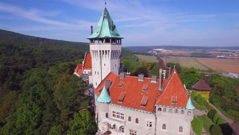 A-beautiful-aerial-view-of-the-romantic-Smolnice-Castle-in-Slovakia