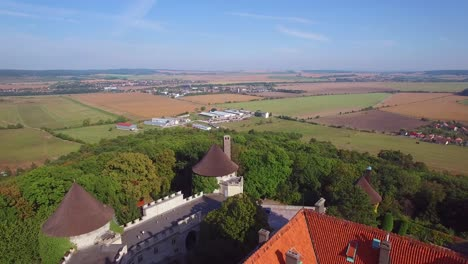 A-beautiful-aerial-view-of-the-romantic-Smolnice-Castle-in-Slovakia-1