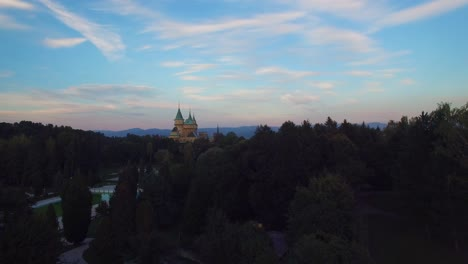 A-beautiful-aerial-view-of-the-romantic-Bojnice-Castle-in-Slovakia-at-dusk