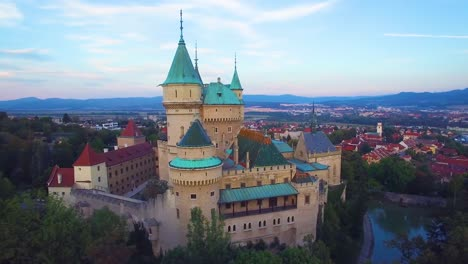 A-beautiful-aerial-view-of-the-romantic-Bojnice-Castle-in-Slovakia-at-dusk-1