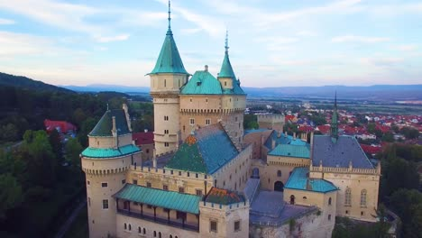A-beautiful-aerial-view-of-the-romantic-Bojnice-Castle-in-Slovakia-at-dusk-2