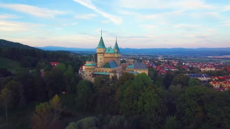 A-beautiful-aerial-view-of-the-romantic-Bojnice-Castle-in-Slovakia-at-dusk-3