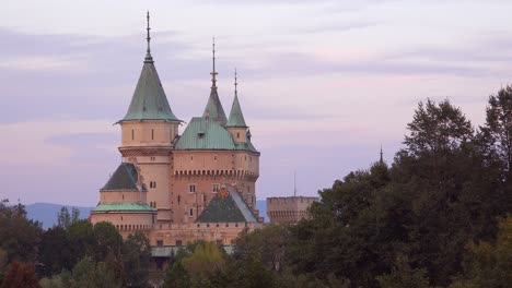A-beautiful-view-of-the-romantic-Bojnice-Castle-in-Slovakia-at-dusk