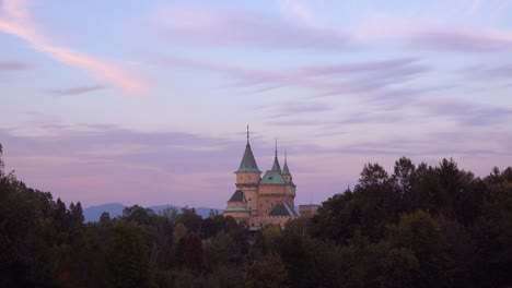 A-beautiful-view-of-the-romantic-Bojnice-Castle-in-Slovakia-at-dusk-1