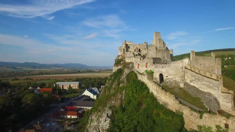 Astonishing-aerial-view-of-an-abandoned-castle-ruin-on-a-hilltop-in-Slovakia
