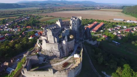 Astonishing-aerial-view-of-an-abandoned-castle-ruin-on-a-hilltop-in-Slovakia-2