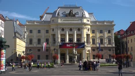 Establishing-shot-in-front-of-the-opera-house-in-modern-Bratislava-Slovakia