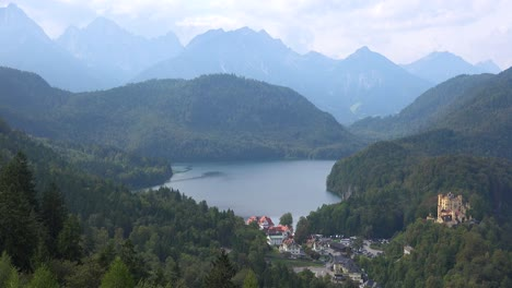 A-view-from-Neuschwanstein-Mad-Ludwigs-castle-in-Bavaria-Germany-towards-the-Alps