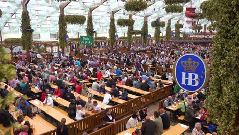 Good-establishing-shot-of-a-large-beer-hall-at-Oktoberfest-in-Munich-Germany
