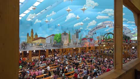 Establishing-shot-of-a-huge-beer-hall-at-Oktoberfest-Germany
