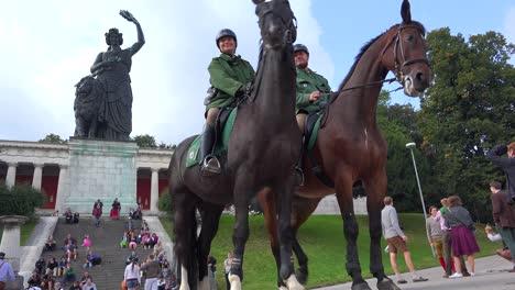 A-mounted-police-force-patrols-Oktoberfest-crowds-in-Munich-Germany