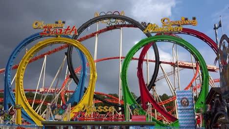 A-roller-coaster-at-an-amusement-park-offers-thrills