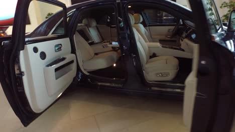A-luxury-Rolls-Royce-car-sits-in-a-showroom