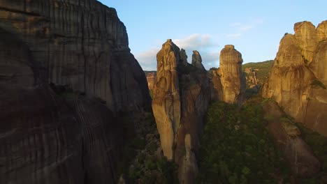 Beautiful-aerials-over-the-rock-formations-of-Meteora-Greece
