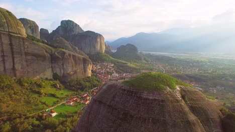 Beautiful-aerial-over-the-rock-formations-of-Meteora-Greece