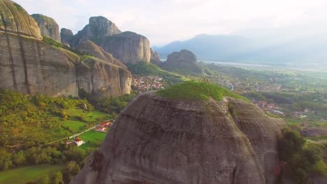 Beautiful-aerial-over-the-rock-formations-of-Meteora-Greece-1