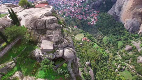 Beautiful-aerial-over-the-rock-formations-and-monasteries-of-Meteora-Greece-4