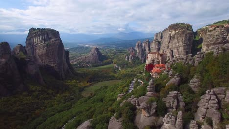 Beautiful-aerial-over-the-rock-formations-and-monasteries-of-Meteora-Greece-10
