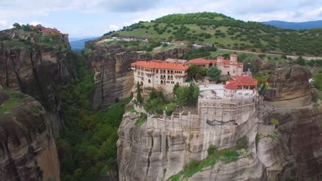 Beautiful-aerial-over-the-rock-formations-and-monasteries-of-Meteora-Greece-14