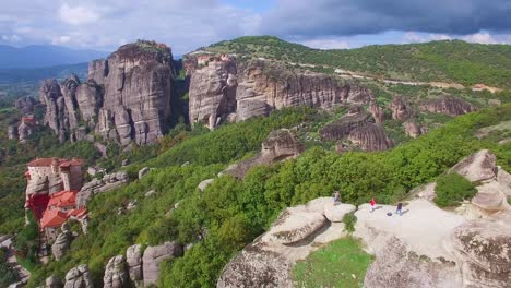 Beautiful-aerial-over-the-rock-formations-and-monasteries-of-Meteora-Greece-15